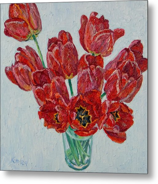 Still Life With Open Red Tulips Metal Print by Vitali Komarov