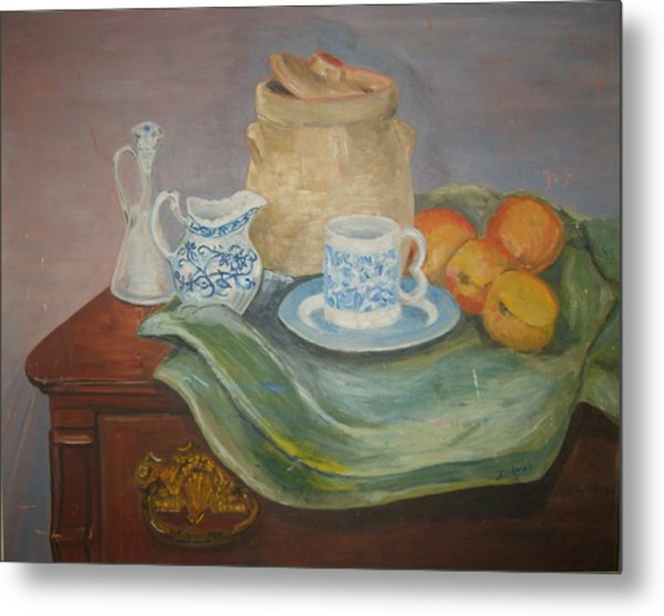 Still Life With Peaches Metal Print by Joseph Sandora Jr