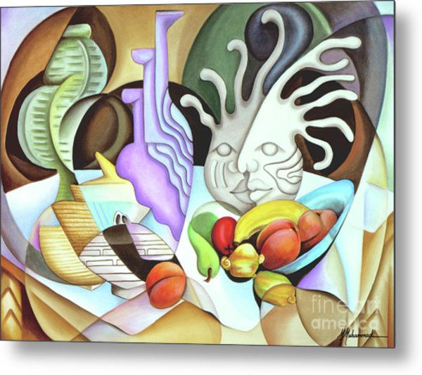 Still Life With Peaches Metal Print by Marcella Muhammad