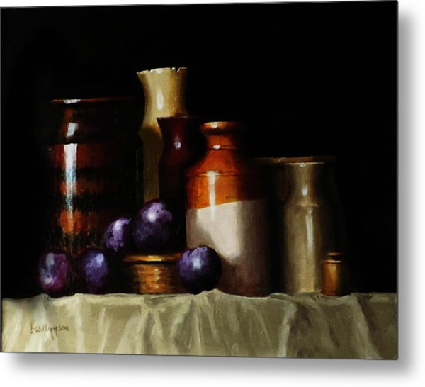 Still Life With Plums Metal Print
