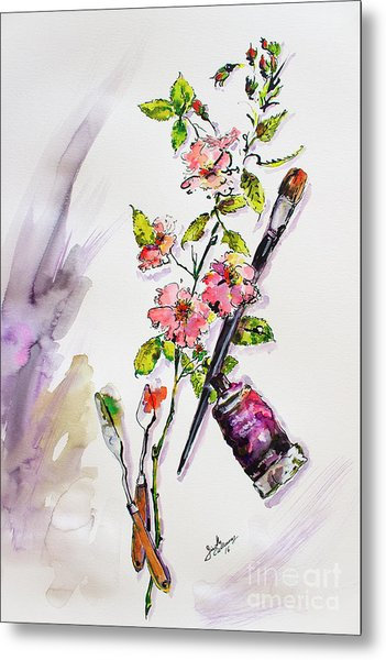 Still Life With Roses And Artist Tools Metal Print