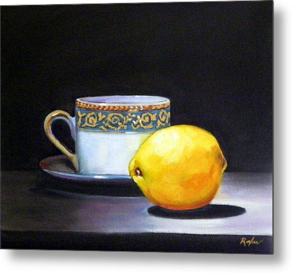 Still Life With Tea Cup And Lemon Metal Print