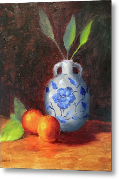 Still Life With Vase And Fruit Metal Print