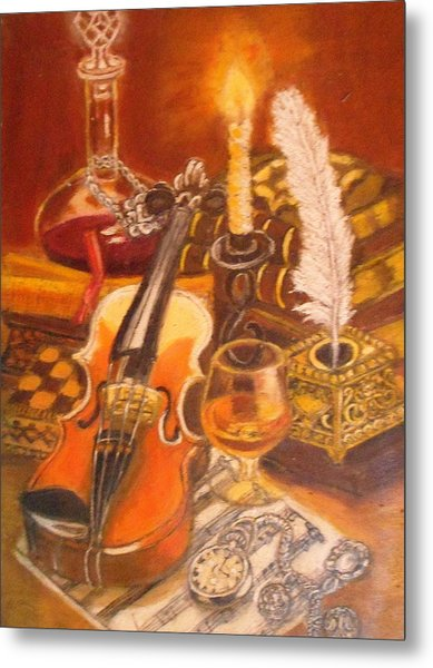 Still Life With Violin And Candle Metal Print