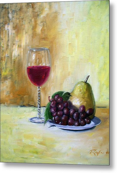 Still Life With Wine, Pear And Grapes Metal Print