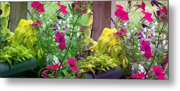Stitched Flower Pot Photograph Metal Print by Laurie Kidd