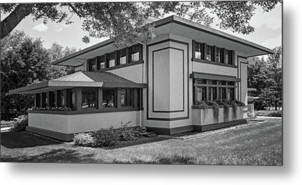 Stockman House - Frank Lloyd Wright - Black And White Metal Print