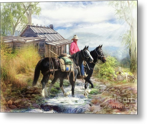 Stockman Of The Snowy Metal Print