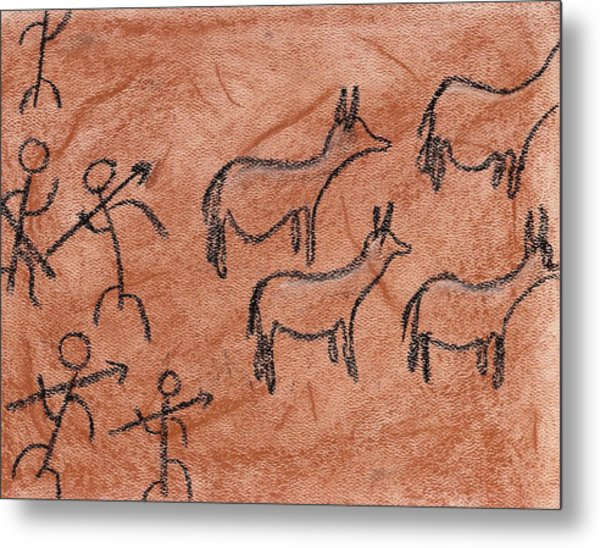 Stone Age Hunt Metal Print