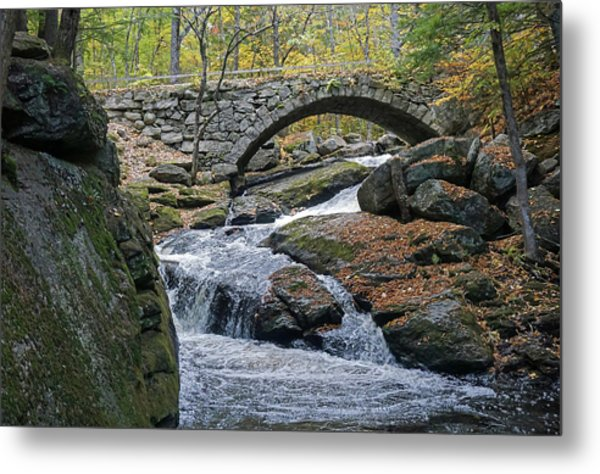 Stone Arch Bridge In Autumn Metal Print