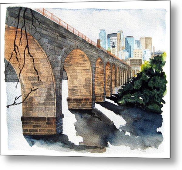 Stone Arch Bridge Watercolor Metal Print
