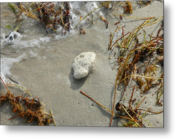 Stone At The Shore - South Beach Metal Print