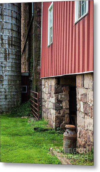 Stone Barn With Milk Can Metal Print