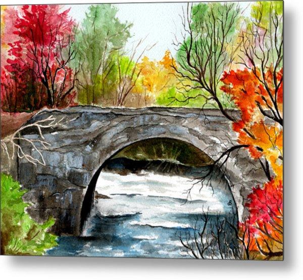 Stone Bridge In Maine  Metal Print