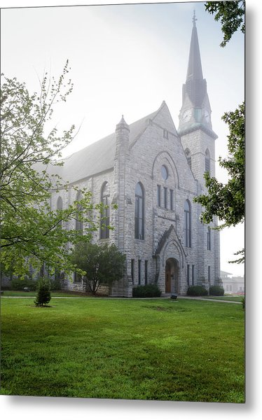 Stone Chapel In Fog Metal Print
