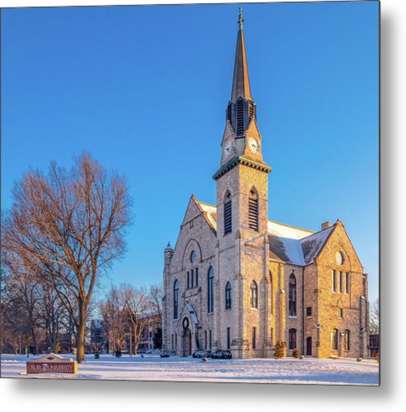 Stone Chapel In Winter Metal Print