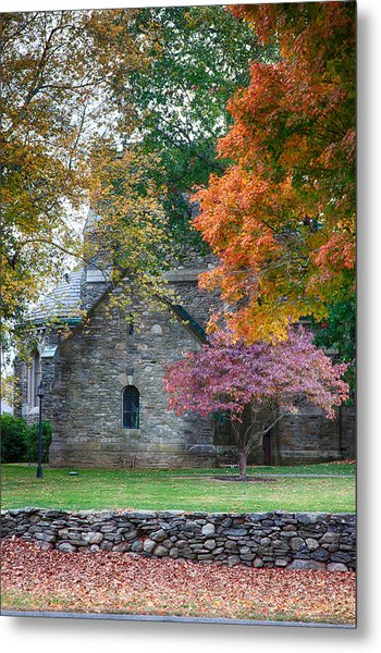 Stone Church In Pomfret Ct In Autumn Metal Print