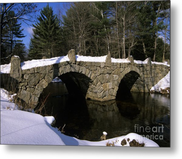 Stone Double Arched Bridge - Hillsborough New Hampshire Usa Metal Print