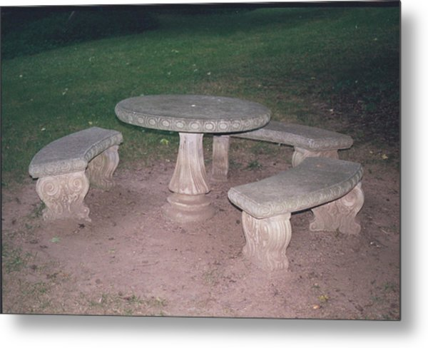 Stone Picnic Table And Benches Metal Print