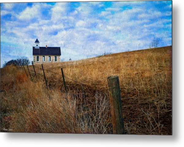 Stone Schoolhouse On The Kansas Prairie Metal Print