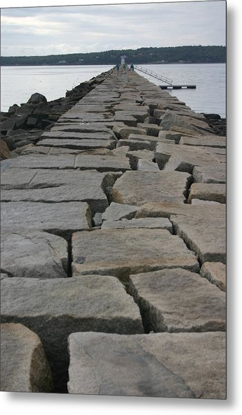 Stone Walk To Light House Metal Print by Dennis Curry