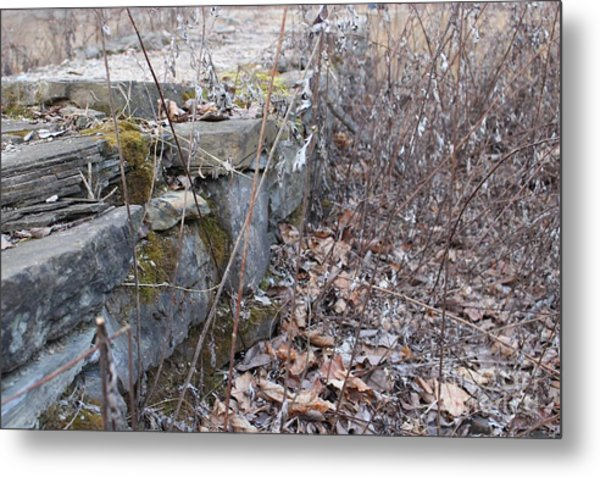 Stone Wall At Jackson Lock Metal Print