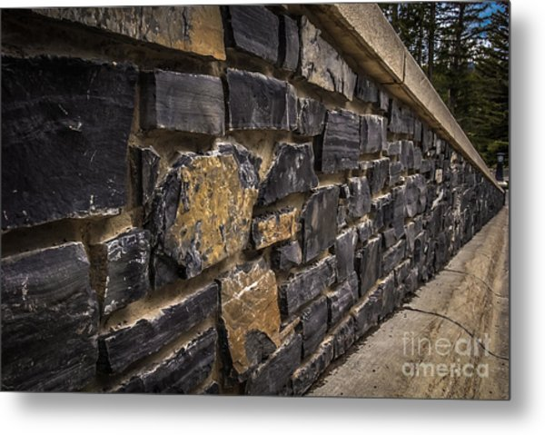 Stone Wall With Perspective Metal Print