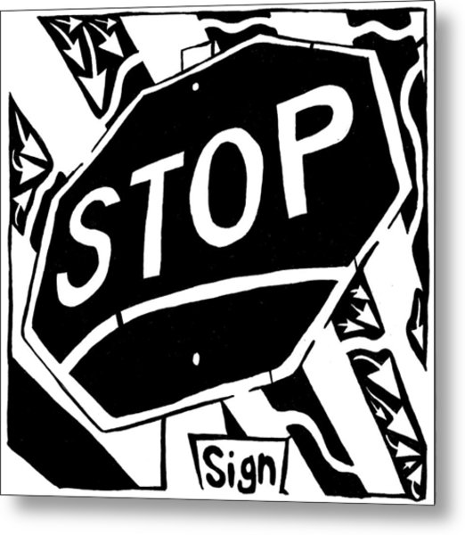 Stop Sign Maze For Letter S Metal Print by Yonatan Frimer Maze Artist