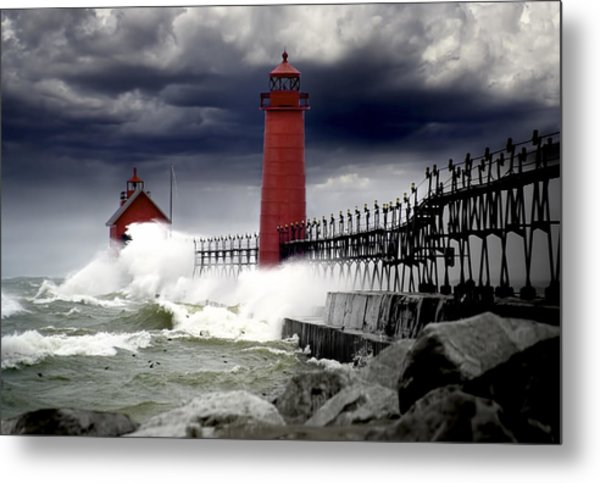 Storm At The Grand Haven Lighthouse Metal Print