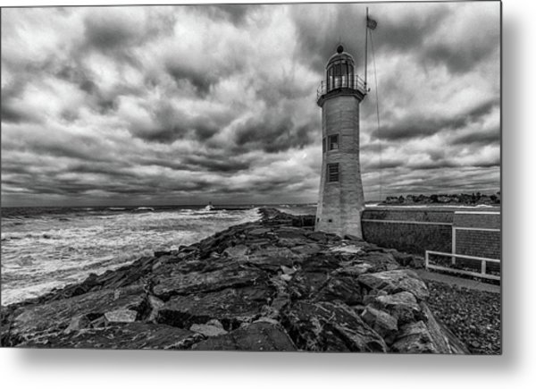 Storm Clouds Over Old Scituate Lighthouse In Black And White Metal Print