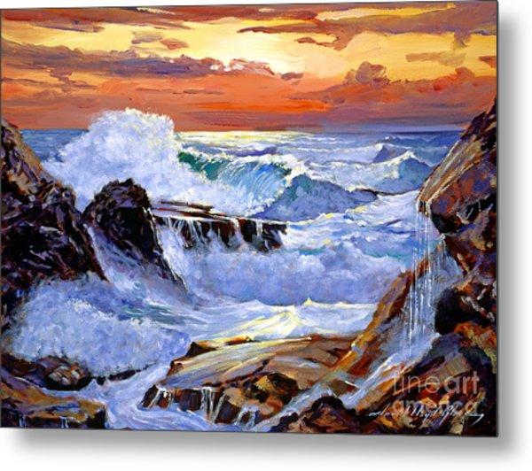 Storm On The Irish Coast Metal Print by David Lloyd Glover