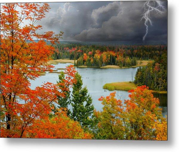 Storm Over Ausable River Metal Print