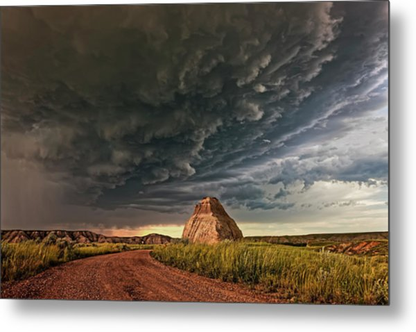 Storm Over Dinosaur Metal Print