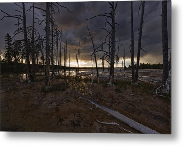 Storm Over Lower Geyser Basin Metal Print