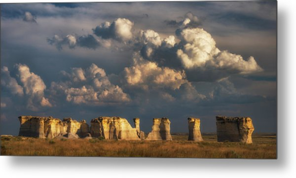 Storm Over Monument Rocks Metal Print