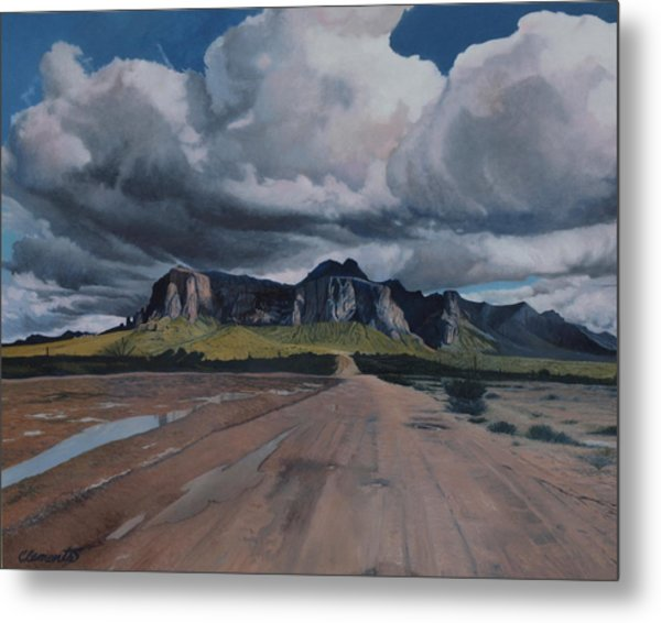 Storm Over The Superstitions Metal Print