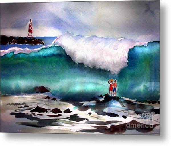 Storm Surf Moment Metal Print