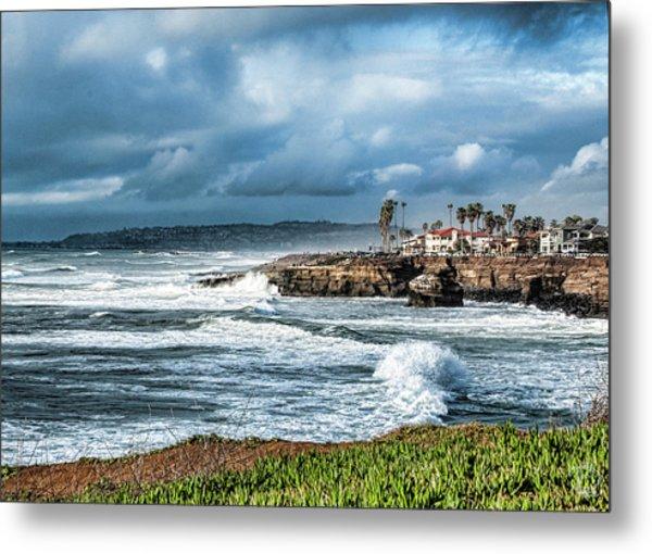 Storm Wave At Sunset Cliffs Metal Print