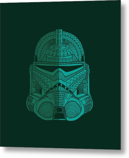 Stormtrooper Helmet - Star Wars Art - Blue Green Metal Print