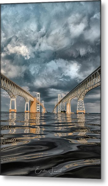 Stormy Chesapeake Bay Bridge Metal Print
