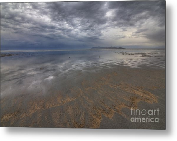 Stormy Clouds Over Antelope Island Metal Print
