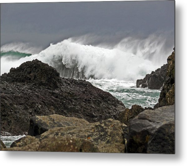 Stormy Day At Ballintoy Harbour Metal Print