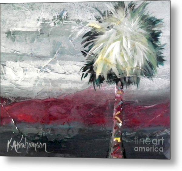 Stormy Horizons Palm Tree Metal Print