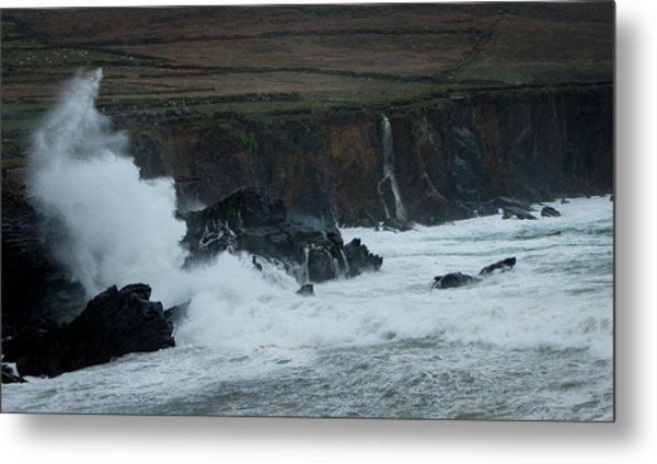 Stormy Irish Seas Metal Print