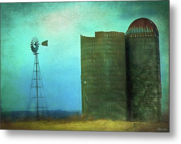 Stormy Old Silos And Windmill Metal Print