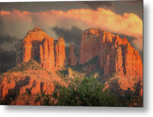 Stormy Sedona Sunset Metal Print