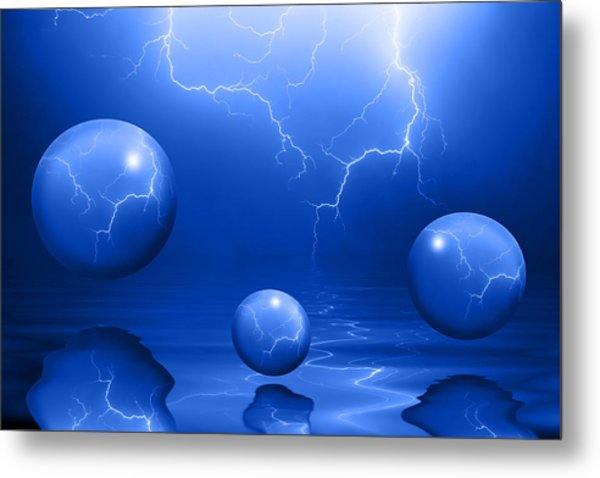Stormy Skies - Blue Metal Print
