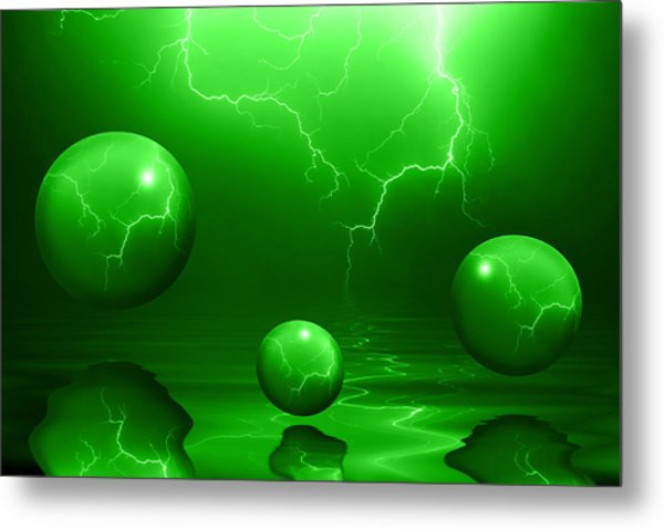 Stormy Skies - Green Metal Print