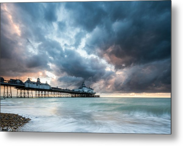 Stormy Sunrise Over Eastbourne Pier Metal Print