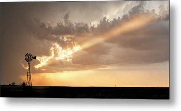 Metal Print featuring the photograph Stormy Sunset And Windmill 01 by Rob Graham